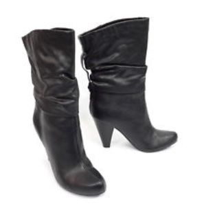 a.n.a. Black Pointed Toe Faux Leather Heeled Boots
